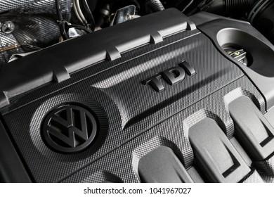 19 of January, 2018 - Vinnitsa, Ukraine. Volkswagen Tiguan  presentation in showroom - under the hood