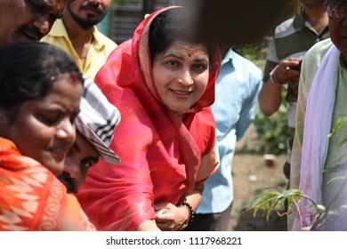 19 june 2018 bhopal india Krishna Gaur ji BJP pradesh mantri and EX mayor tree plantation at pragati nagar Bhopal