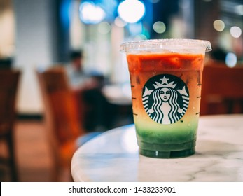 19 June 2019; Nonthaburi Thailand: Starbucks Iced Espresso Matcha Fusion Cup at Starbucks Cafe Coffee Shop.