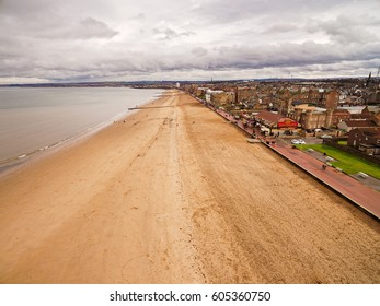 19. MARCH. 2017. EDINBURGH - The long stretch of sandy beach of Portobello, Edinburgh's seaside viewed from the air. Scotland, United Kingdom