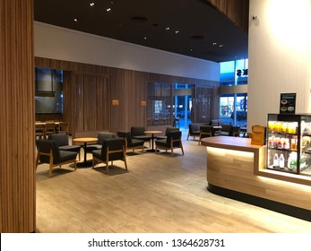 19 March 2019; Nonthaburi Thailand: Interior of Starbucks coffee shop work space