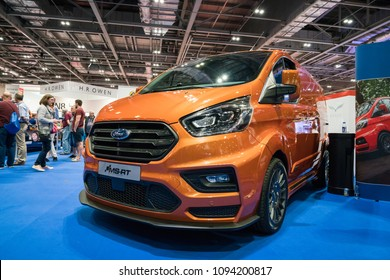 19 May 2018 - London, England. Flexible, agile and packed with power. New model of Ford Transit MS-RT van in London Motor Show.