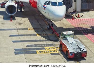 19 May 2019 , Push back tracktor with Airasia airline at Don muang airport , Bangkok.