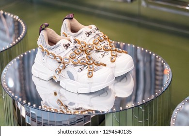 19 OCTOBER 2018, FLORENCE, ITALY: Unusual design of a stylish Gucci shoes for sale