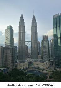 19 October 2018 Kuala Lumpur Malaysia : view KLCC from skybar at trader hotel.