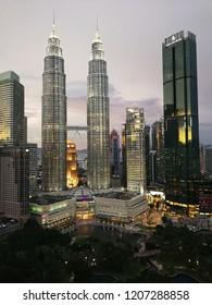 19 October 2018 Kuala Lumpur Malaysia : view sunset KLCC from skybar at trader hotel.