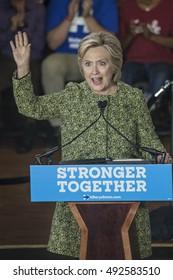 19 September 2016 - Philadelphia,USA - Secretary of State Hillary Clinton campaigns rally at Temple University Philadelphia.