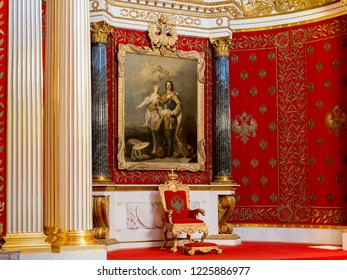 19 September 2018: St Petersburg, Russia - Throne and portrait of Peter the Great in the Small Throne Room in the Winter Palace, part of the Hermitage Museum.