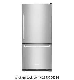 19.0 Cu. Ft. Bottom Freezer Refrigerator Isolated on White. Front View of Stainless Steel 2 Two Door Fridge. Steel Side by Side Double Door Refrigerator. Modern Kitchen and Domestic Appliances