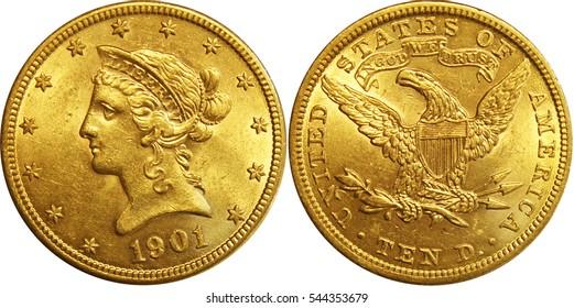 1901 Ten Dollar Gold Half Eagle Coin