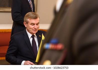 19.02.2018. RIGA, LATVIA. President of Republic of Latvia Raimonds Vejonis meeting with H.E. Speaker of the Seimas of the Republic of Lithuania Viktor Pranckietis