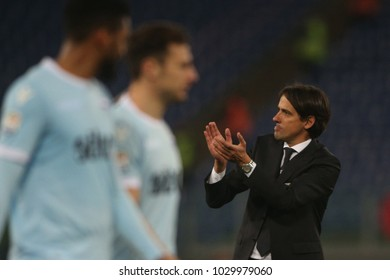 19.02.2018. Stadio Olimpico, Rome, Italy. Serie A. SS Lazio vs Hellas Verona.Simone inzaghi  in action during the match Lazio vs Verona at Stadio Olimpico in Rome.