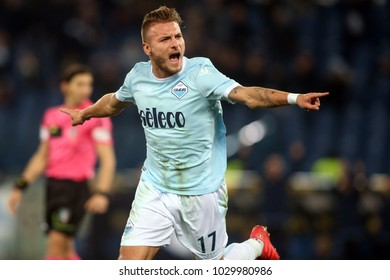 19.02.2018. Stadio Olimpico, Rome, Italy. Serie A. SS Lazio vs Hellas Verona.Ciro Immobile scorre the gol and celebrate   during the match Lazio vs Verona at Stadio Olimpico in Rome.