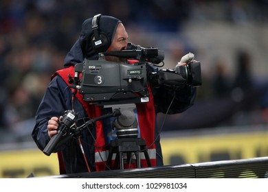 19.02.2018. Stadio Olimpico, Rome, Italy. Serie A. SS Lazio vs Hellas Verona. Cameramen in action during the match Lazio vs Verona at Stadio Olimpico in Rome.
