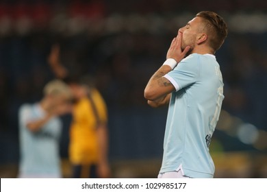 19.02.2018. Stadio Olimpico, Rome, Italy. Serie A. SS Lazio vs Hellas Verona.Ciro immobile  in action during the match Lazio vs Verona at Stadio Olimpico in Rome.