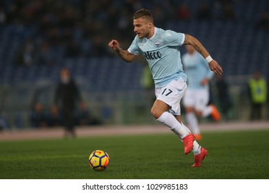 19.02.2018. Stadio Olimpico, Rome, Italy. Serie A. SS Lazio vs Hellas Verona. Ciro Immobile in action during the match Lazio vs Verona at Stadio Olimpico in Rome.