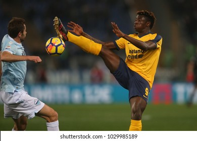 19.02.2018. Stadio Olimpico, Rome, Italy. Serie A. SS Lazio vs Hellas Verona. Lulic and Keane in action during the match Lazio vs Verona at Stadio Olimpico in Rome.