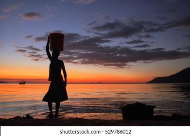 19.05.2016, Africa, Malawi, Lake Nyasa, Sunset on Lake Nyasa