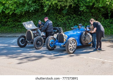 19/05/2017 Norden UK, one of a pair of Vintage Bugatti racing cars has broken down in local village car park