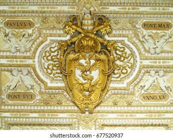 19.06.2017, Vatican city, Roma, Italy: Coat of arms of the Vatican symbol bas-relief in of St. Peters Basilica