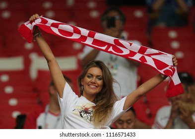 19.06.2018. Moscow, Russian: Poland and Senegal fans on the stands in the Fifa World Cup Russia 2018, Group H, football match between POLAND v SENEGAL in Spartak Stadium  in Moscow.