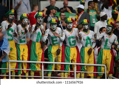 19.06.2018. Moscow, Russian: Senegal fans during the Fifa World Cup Russia 2018, Group H, football match between POLAND v SENEGAL in Spartak Stadium  in Moscow.