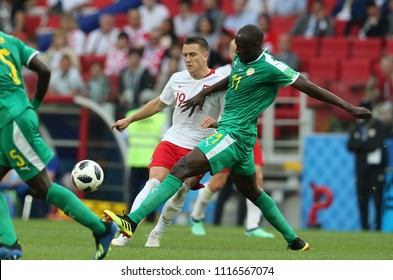 19.06.2018. Moscow, Russian:PIOTR ZIELINSKI, CHEIKH N'DOYE  in action during the Fifa World Cup Russia 2018, Group H, football match between POLAND v SENEGAL in Spartak Stadium  in Moscow.