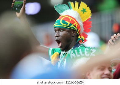 19.06.2018. Moscow, Russian:Senegal fans at end  the Fifa World Cup Russia 2018, Group H, football match between POLAND v SENEGAL in Spartak Stadium  in Moscow.