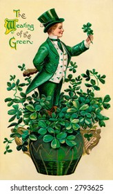 A 1910 vintage St. Patrick's Day greeting card illustration of an Irish man showing 'The Wearing of the Green'
