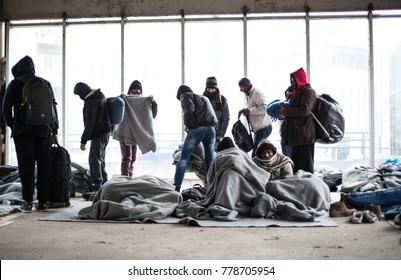 19.12.2017 ,Serbia, BelgradRefugees people on the balkan route.Ca. 150 refugee men are sleeping in an abandoned building in downtown of Belgrad.19.12.2017 ,Serbia, Belgrad