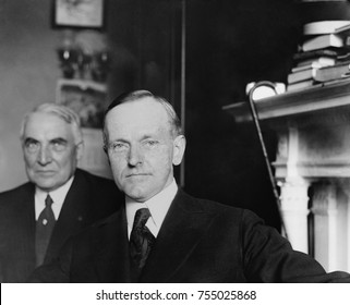 1920 Republican Vice Presidential nominee, Governor Calvin Coolidge of Massachusetts. In the background is Senator Warren Harding, who was elected President. Marion, Ohio, June 30, 1920.