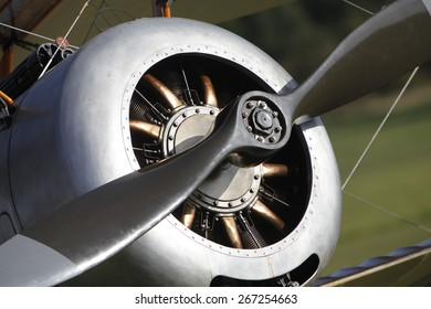 1920's Sopwith Pup biplane aircraft engine and propeller at a Shuttleworth Collection air display at Old Warden airfield, Bedfordshire ,UK. taken 26/09/2012