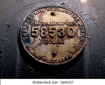 A 1925 locomotive identification plate.