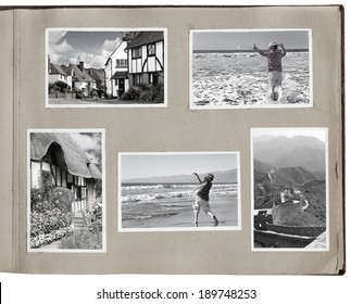 1930s photo album with rough pages and photo prints. Clipping paths for photo interior and photo frame exterior