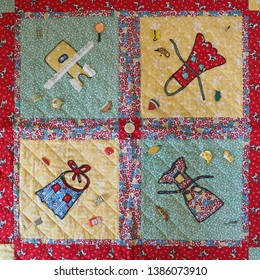 1930s Reproduction Fabric Quilt with Appliqué, Embellishments and Hand Quilting