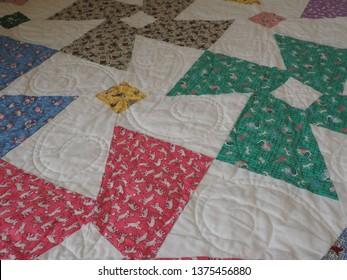 1930s Reproduction Fabrics Patchwork Quilt