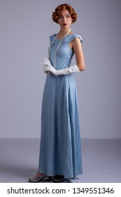 1930s woman in blue dress