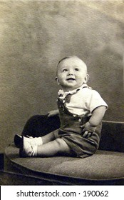 1940's smiling baby boy.  Black and white vintage.
