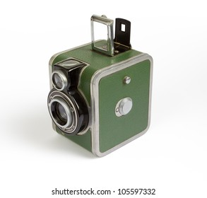 1940s vintage camera on a white background