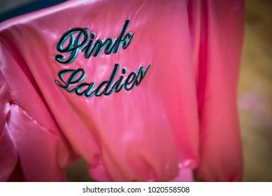 1950 style pink ladies satin jacket
