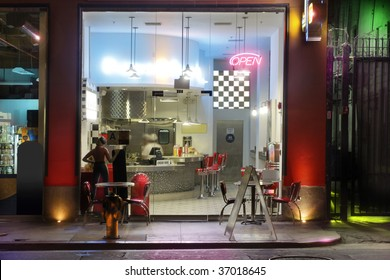 1950s style diner at night (miniature model)
