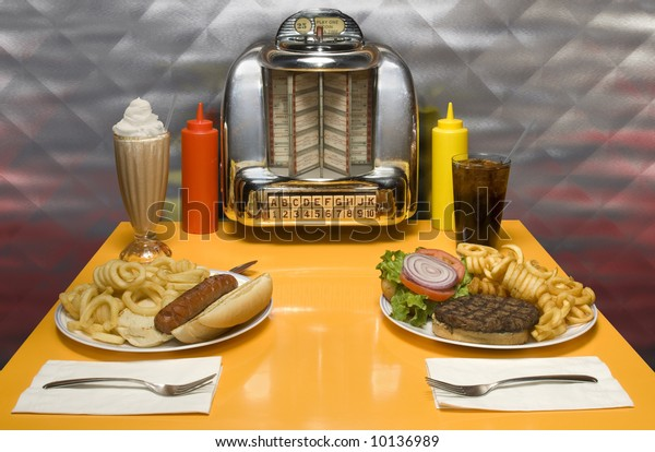 1950s Style Diner Table Juke Box Stock Photo (Edit Now) 10136989