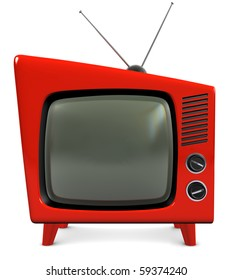 1950s style retro plastic TV with a trapezoidal design, isolated on white with a clipping path