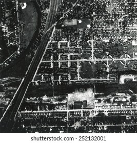1956 aerial photograph of Love Canal showing a school and houses built over and near a landfill. Niagara Falls, New York.