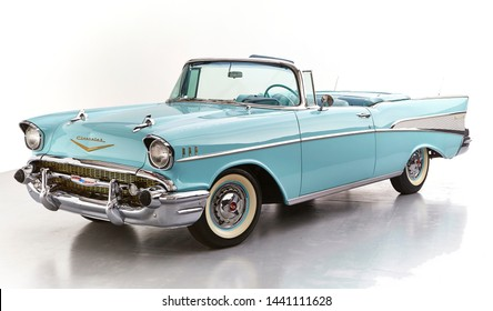 1957 Chevrolet Belair convertible isolated on white background