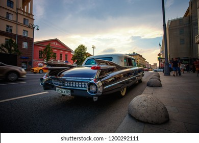 1959 Cadillac Fleetwood at the city street. Back view. June 23, 2018, Moscow, Russia.