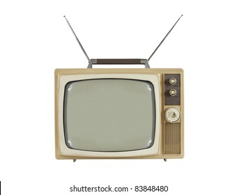 1960's portable television with antennas up.  Isolated on white.