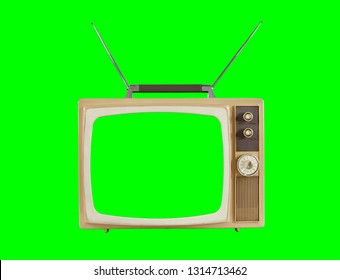 1960's television with antennas and chroma key green background and screen.