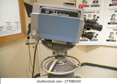 1960's TV camera used in Kennedy-Nixon debates at  John F. Kennedy Presidential Library and Museum, Boston, MA., USA