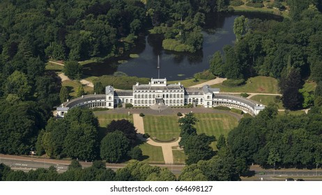 19-6-17, Baarn, Netherlands. Aerial view of the Royal Palace Soestdijk. Former residence of Queen Juliana and now being turned over in a hotel and museum. The estate has a huge pond.
